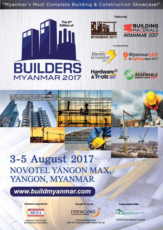 Builders Myanmar Expo 2017 - Exhibition in Myanmar